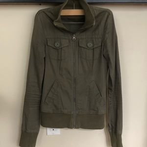 Army green rubbish zip up jacket S